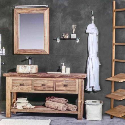 Samenstelling van modern badkamermeubilair in massief teakhout - potje