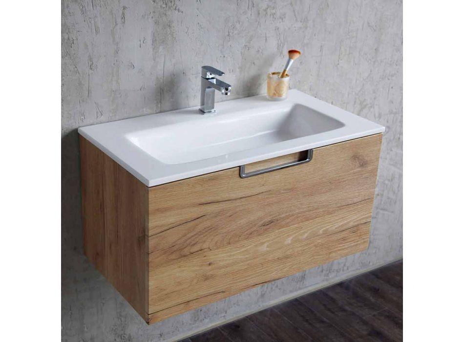Badkamer ijdelheidskastcompositie in hout en moderne designspiegel - Gualtiero