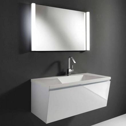 Samenstelling van witte moderne hangende badkamermeubels met LED-spiegel - Desideria