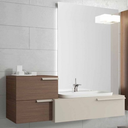 Hangende badkamermeubels ontwerpsamenstelling Gelukkig gelakt hout Happy
