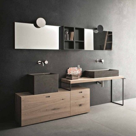 Moderne badkamersamenstelling van gemalen designmeubels gemaakt in Italië - Farart6