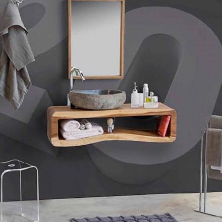 Opgeschorte samenstelling van badkamermeubels in modern teakhout - Kristi