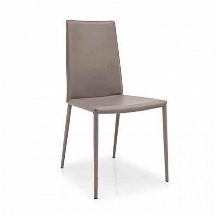 Connubia Calligaris Boheme leren stoel, moderne metal, 2 stuks