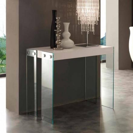 Console Extendable modern design met de benen Miss gehard glas