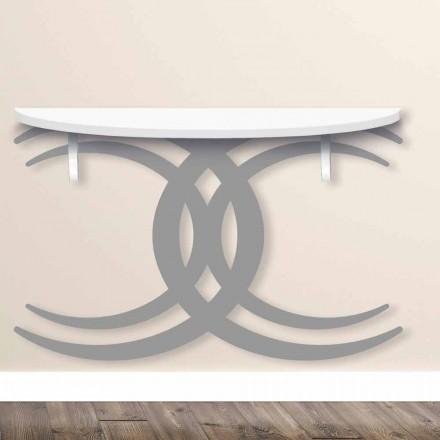 Wandgemonteerde console voor modern design in wit en grijs hout - Coco