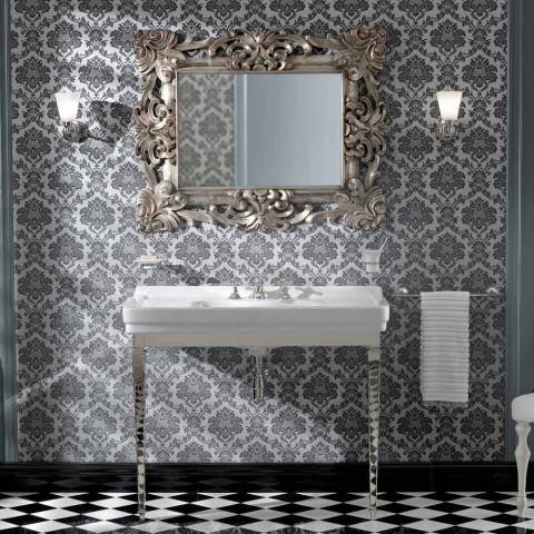 105 cm Vintage witte keramische badkamerconsole met voeten, gemaakt in Italië - Marwa