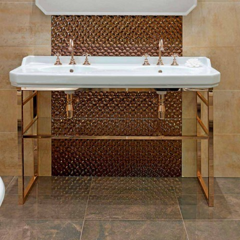 Badkamerconsole L 135 cm met dubbele kom in keramiek met voeten - Nausica