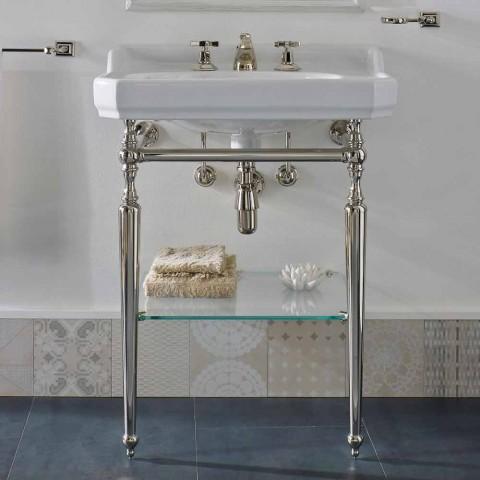 65 cm keramische badkamerconsole met metalen voeten Gemaakt in Nausica, Italië