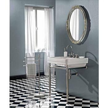 Badkamerconsole L69 cm op voeten in wit vintage keramiek, gemaakt in Italië - Marwa