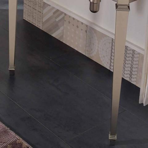 90 cm vintage badkamerconsole, wit keramiek, met voeten Made in Italy - Nausica