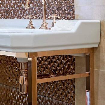 Vintage badkamerconsole L 135 cm met dubbele kom in keramiek met voeten - Nausica