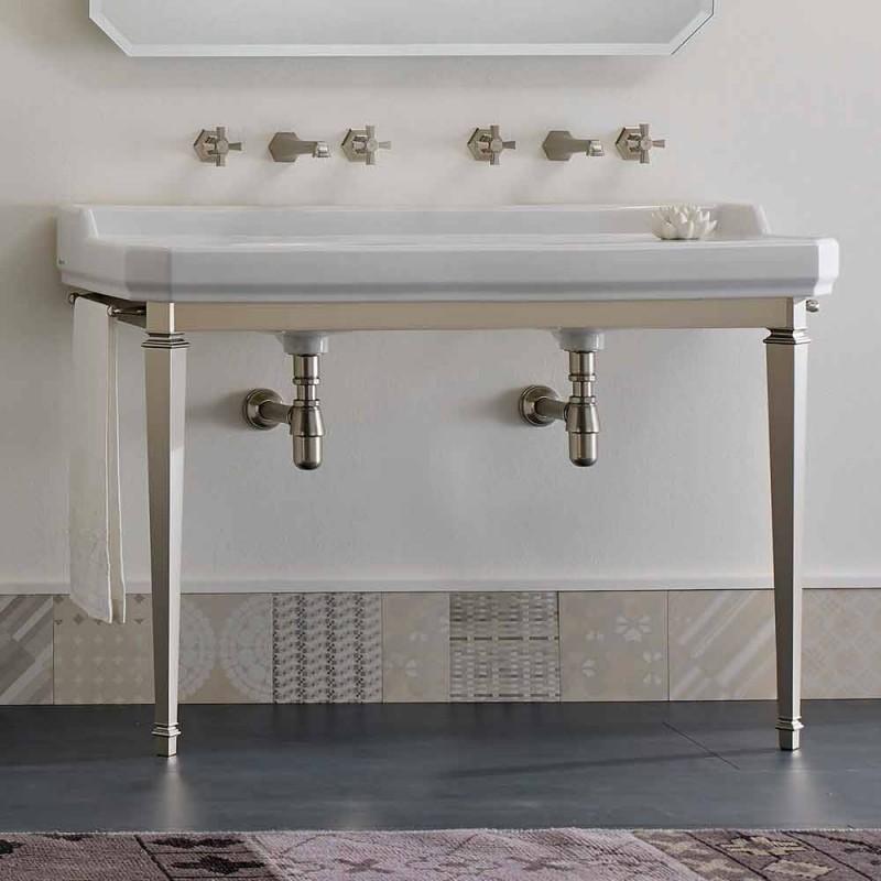 Badkamerconsole L 135 cm met dubbele kom in keramiek Made in Italy - Nausica