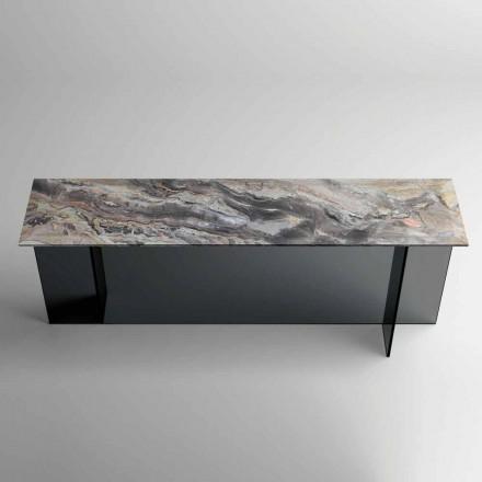Designconsole met marmeren blad en glazen voet Gemaakt in Italië - Molino