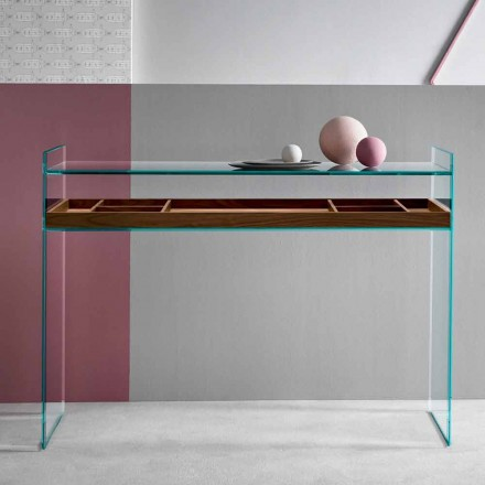 Design Consolle in extrahelder glas met dienblad gemaakt in Italië - Imperativo