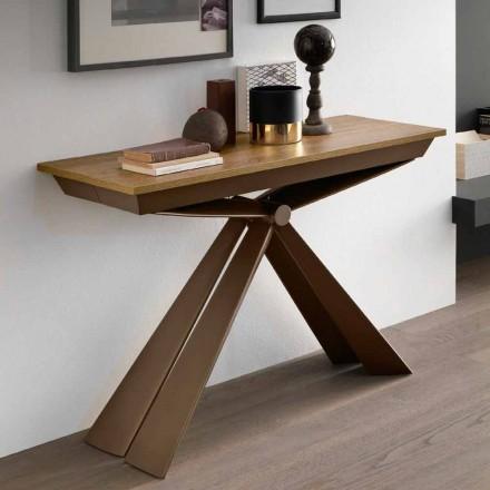 Tafelconsole in hout en metaal, uitschuifbaar tot 295 cm Made in Italy - Timedio