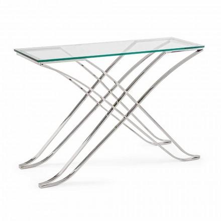 Console in gehard glas en stalen basis Modern design Homemotion - Zafira