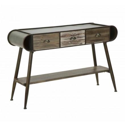 Rechthoekige moderne designconsole in ijzer en hout - Marek
