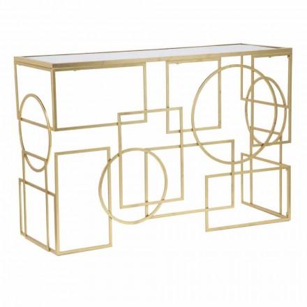 Rechthoekige moderne designconsole in ijzer en spiegel - Billie