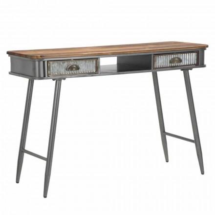 Rechthoekige ijzeren en houten console industrieel ontwerp - Ermo