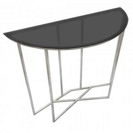 Moderne stijl halve cirkel Consolle in ijzer en glas - Augusta