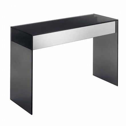Design Consolle Desk in Smokey Glass met lades Made in Italy - Mantra