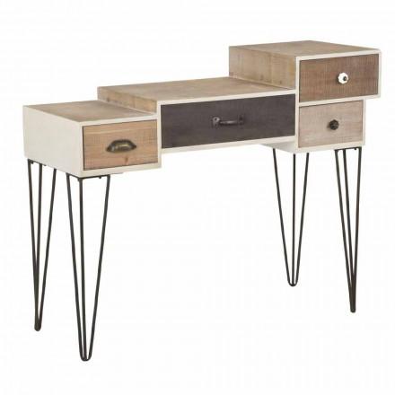 Console met lades moderne industriële stijl in hout en metaal - Lille