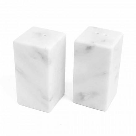 Zout- en peperbakken in wit Carrara-marmer gemaakt in Italië - Julio