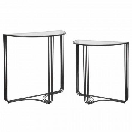 Paar moderne designconsoles in ijzer en glas - Ferdie