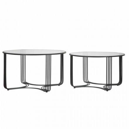 Paar moderne ronde lage koffietafels in glas en ijzer - Mirna