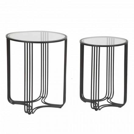 Paar ronde salontafels in glas en ijzer Modern Design - Ezra