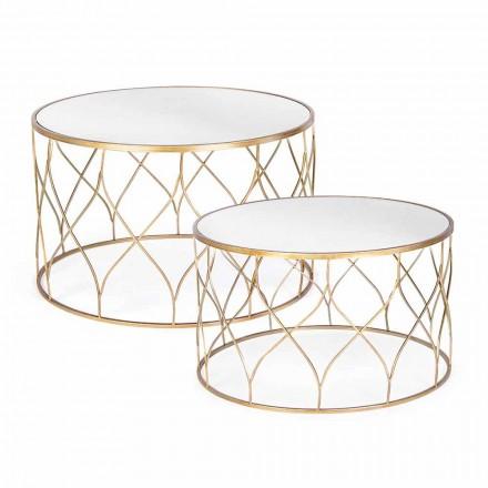 Paar ronde salontafels van glas en staal Homemotion - Amarillide