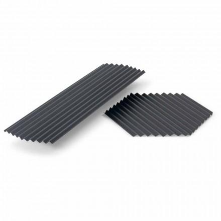 Paar dienbladen in modern design van zwart of goudgelakt staal - Savona