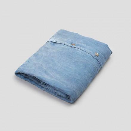 Lichtblauw linnen tweepersoons dekbedovertrek met knopen en plat - Ljuba