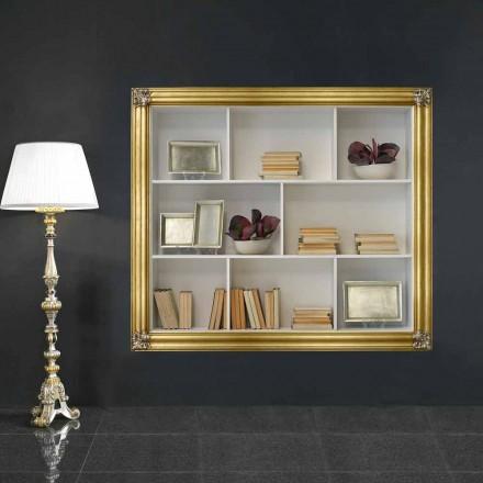 Wandgemonteerde boekenkast in gelotonhout geproduceerd in Giulio, Italië
