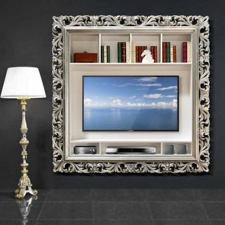 Tv-wandframe gemaakt van hout handgemaakt in Italië Mario