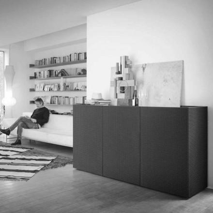 Geloof modern design zwart met 2 deuren en uittrekbare lade Flora