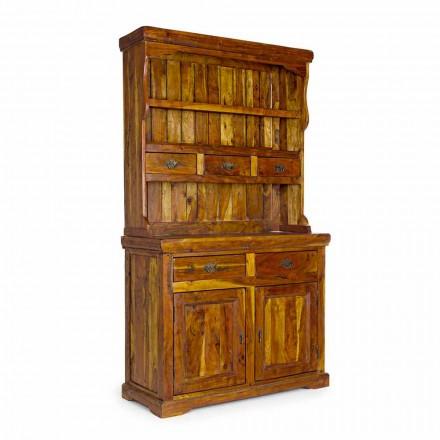 Hoog dressoir in klassieke stijl met structuur van massief acaciahout - umami