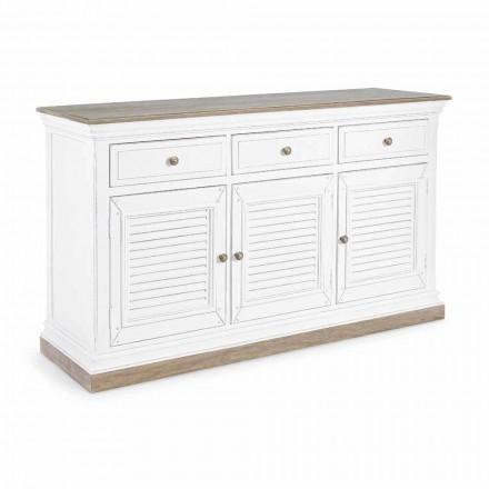 Klassiek design dressoir van mangohout met 3 deuren en 3 lades - Baffy