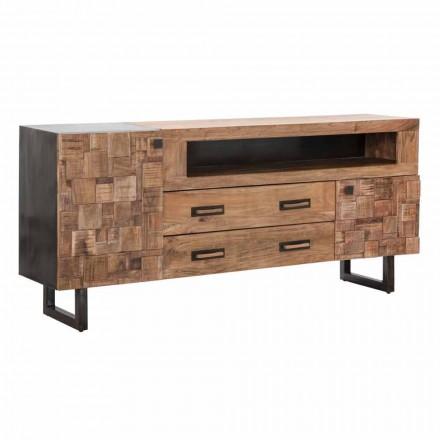 Design dressoir in acaciahout en ijzer met 2 deuren en 2 lades - Dalya