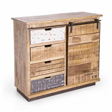 Dressoir in hout en staal met deur en 4 laden in industriële stijl - Renza