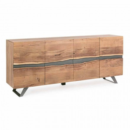 Dressoir in hout en geverfd staal Modern design Homemotion - Silvia