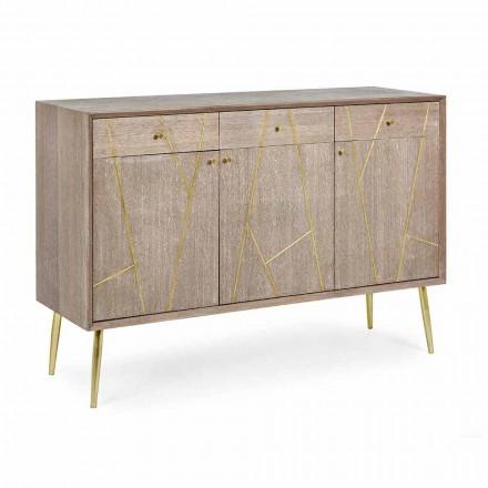 Dressoir in teakhout met vintage stijl goudstalen inzetstukken - Mayra