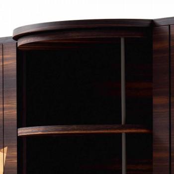 Grilli Zarafa modern driedeurs dressoir in notenhout en ebbenhout