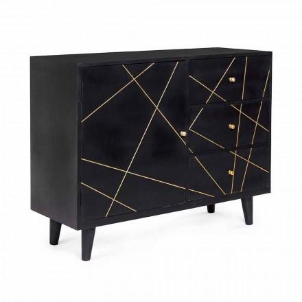 Modern dressoir met structuur van mangohout en messing details - Anira
