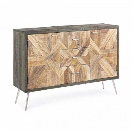 Vintage dressoir met houten structuur en stalen details - Adiva