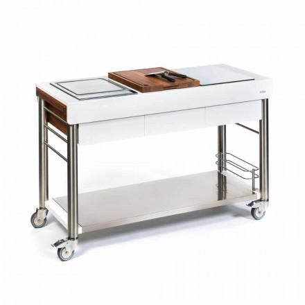Buitenkeuken op designwielen, hoge kwaliteit in hout en staal - Calliope