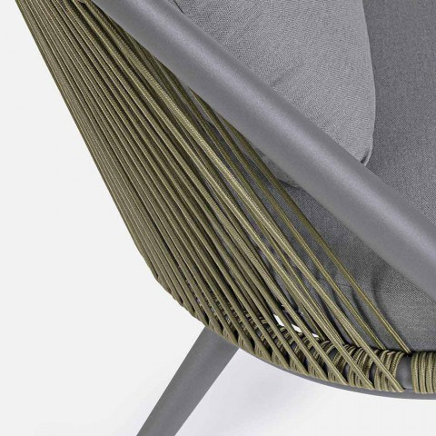 2-zits buitenbank van aluminium en touw met Homemotion-kussens - Gillian