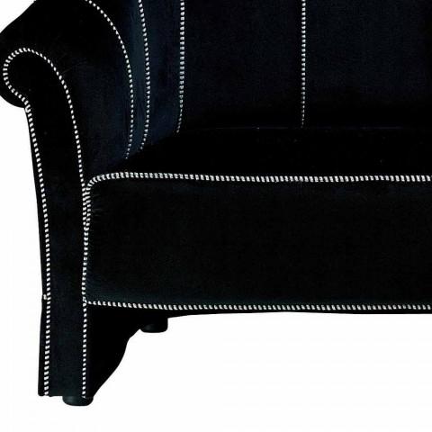 2-zitsbank in zwart fluweel met contrasterende stiksels Made in Italy - Caster