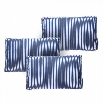 3-zits buitenbank in wit of zwart aluminium en blauwe kussens - Cynthia