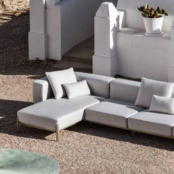 Aluminium 3-zits buitenbank met verlengstuk en chaise longue - Filomena